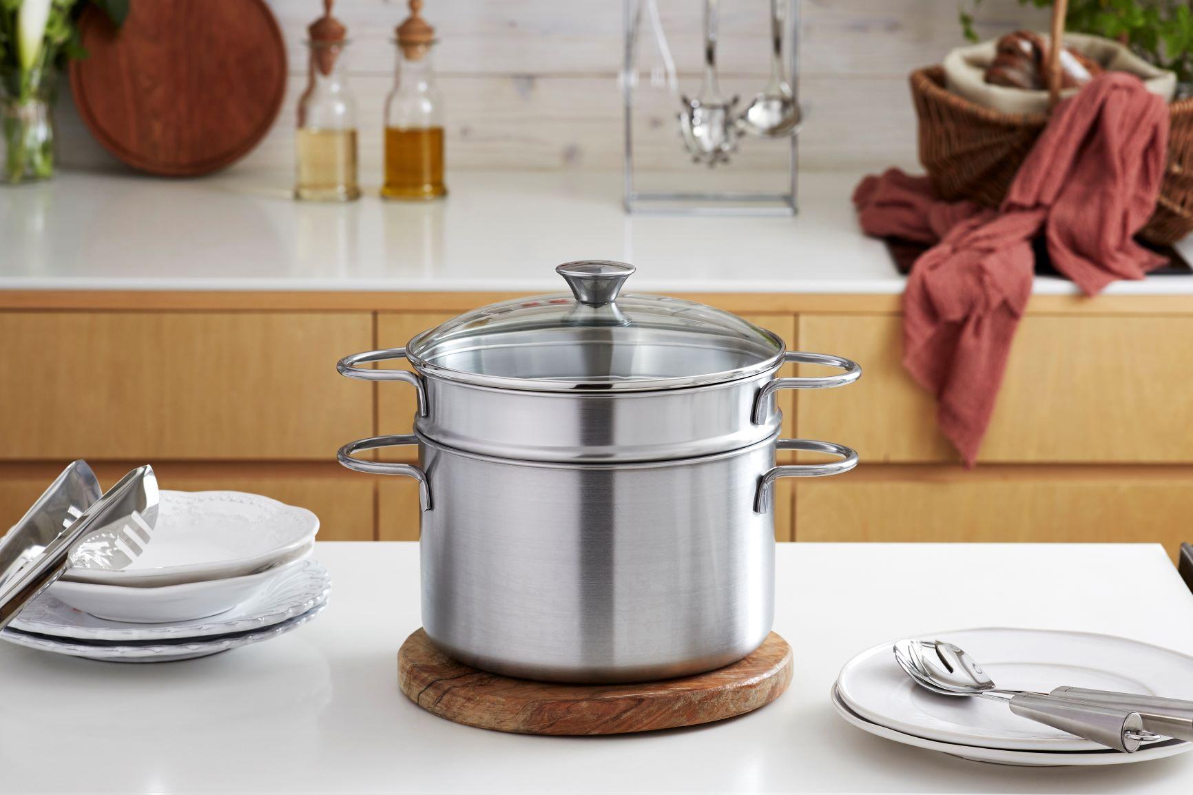パスタゆでながら蒸し料理 便利な二段調理のパスタ鍋
