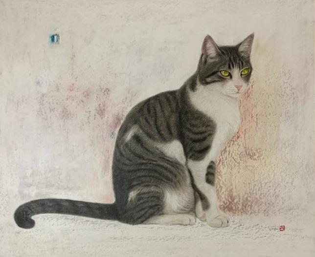 愛らしく、生き生きとした猫たちを描く 大阪で市来功成氏の絵画展